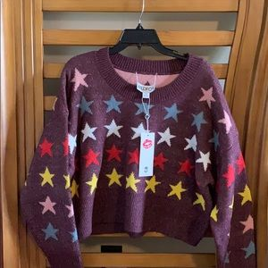 NWT Wildfox Star Long Sleeve sweater M